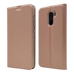 Ultra Slim Card Magnetic Automatic Suction Leather Wallet Case for Mi Xiaomi Pocophone F1 - Rose Gold