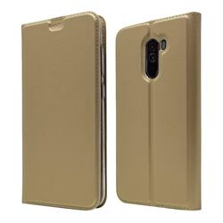 Ultra Slim Card Magnetic Automatic Suction Leather Wallet Case for Mi Xiaomi Pocophone F1 - Champagne