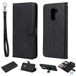 Retro Greek Detachable Magnetic PU Leather Wallet Phone Case for Mi Xiaomi Pocophone F1 - Black
