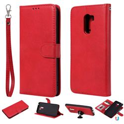 Retro Greek Detachable Magnetic PU Leather Wallet Phone Case for Mi Xiaomi Pocophone F1 - Red