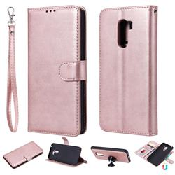 Retro Greek Detachable Magnetic PU Leather Wallet Phone Case for Mi Xiaomi Pocophone F1 - Rose Gold