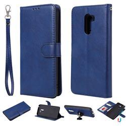 Retro Greek Detachable Magnetic PU Leather Wallet Phone Case for Mi Xiaomi Pocophone F1 - Blue