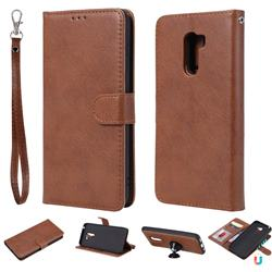 Retro Greek Detachable Magnetic PU Leather Wallet Phone Case for Mi Xiaomi Pocophone F1 - Brown