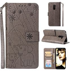 Embossing Fireworks Elephant Leather Wallet Case for Mi Xiaomi Pocophone F1 - Gray