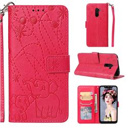 Embossing Fireworks Elephant Leather Wallet Case for Mi Xiaomi Pocophone F1 - Red