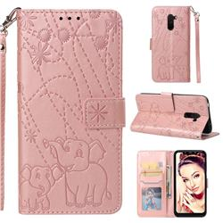 Embossing Fireworks Elephant Leather Wallet Case for Mi Xiaomi Pocophone F1 - Rose Gold