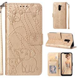 Embossing Fireworks Elephant Leather Wallet Case for Mi Xiaomi Pocophone F1 - Golden