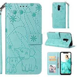 Embossing Fireworks Elephant Leather Wallet Case for Mi Xiaomi Pocophone F1 - Green