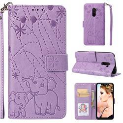 Embossing Fireworks Elephant Leather Wallet Case for Mi Xiaomi Pocophone F1 - Purple