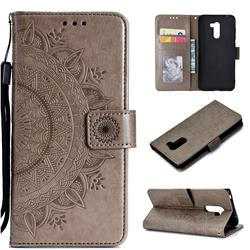 Intricate Embossing Datura Leather Wallet Case for Mi Xiaomi Pocophone F1 - Gray