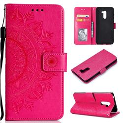 Intricate Embossing Datura Leather Wallet Case for Mi Xiaomi Pocophone F1 - Rose Red
