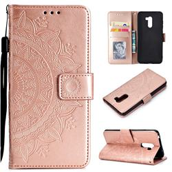 Intricate Embossing Datura Leather Wallet Case for Mi Xiaomi Pocophone F1 - Rose Gold
