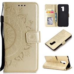 Intricate Embossing Datura Leather Wallet Case for Mi Xiaomi Pocophone F1 - Golden