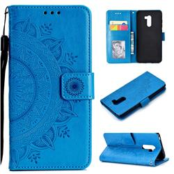 Intricate Embossing Datura Leather Wallet Case for Mi Xiaomi Pocophone F1 - Blue