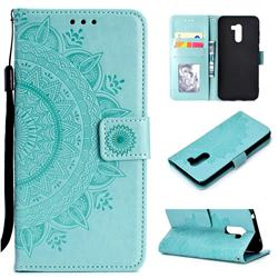 Intricate Embossing Datura Leather Wallet Case for Mi Xiaomi Pocophone F1 - Mint Green