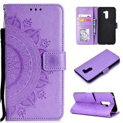 Intricate Embossing Datura Leather Wallet Case for Mi Xiaomi Pocophone F1 - Purple