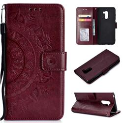 Intricate Embossing Datura Leather Wallet Case for Mi Xiaomi Pocophone F1 - Brown