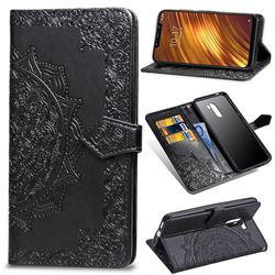 Embossing Imprint Mandala Flower Leather Wallet Case for Mi Xiaomi Pocophone F1 - Black
