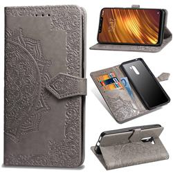 Embossing Imprint Mandala Flower Leather Wallet Case for Mi Xiaomi Pocophone F1 - Gray