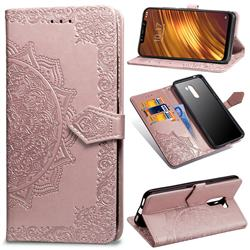 Embossing Imprint Mandala Flower Leather Wallet Case for Mi Xiaomi Pocophone F1 - Rose Gold