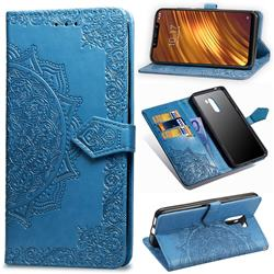 Embossing Imprint Mandala Flower Leather Wallet Case for Mi Xiaomi Pocophone F1 - Blue
