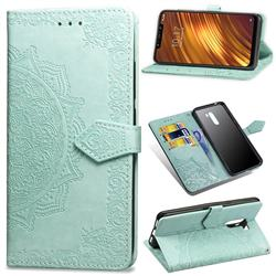 Embossing Imprint Mandala Flower Leather Wallet Case for Mi Xiaomi Pocophone F1 - Green