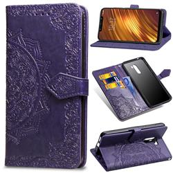 Embossing Imprint Mandala Flower Leather Wallet Case for Mi Xiaomi Pocophone F1 - Purple