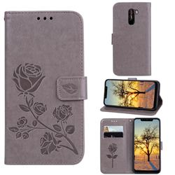 Embossing Rose Flower Leather Wallet Case for Mi Xiaomi Pocophone F1 - Grey