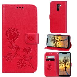 Embossing Rose Flower Leather Wallet Case for Mi Xiaomi Pocophone F1 - Red