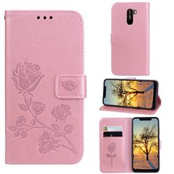 Embossing Rose Flower Leather Wallet Case for Mi Xiaomi Pocophone F1 - Rose Gold
