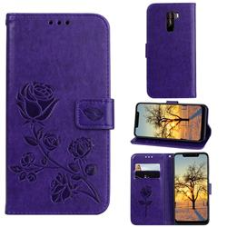 Embossing Rose Flower Leather Wallet Case for Mi Xiaomi Pocophone F1 - Purple