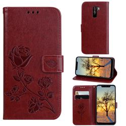 Embossing Rose Flower Leather Wallet Case for Mi Xiaomi Pocophone F1 - Brown