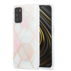 Pink White Marble Pattern Galvanized Electroplating Protective Case Cover for Mi Xiaomi Poco M3