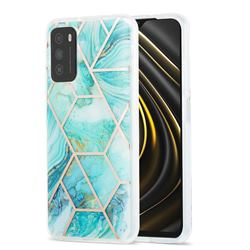 Blue Sea Marble Pattern Galvanized Electroplating Protective Case Cover for Mi Xiaomi Poco M3
