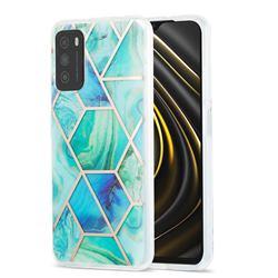 Green Glacier Marble Pattern Galvanized Electroplating Protective Case Cover for Mi Xiaomi Poco M3