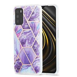 Purple Gagic Marble Pattern Galvanized Electroplating Protective Case Cover for Mi Xiaomi Poco M3