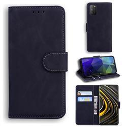 Retro Classic Skin Feel Leather Wallet Phone Case for Mi Xiaomi Poco M3 - Black