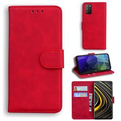 Retro Classic Skin Feel Leather Wallet Phone Case for Mi Xiaomi Poco M3 - Red