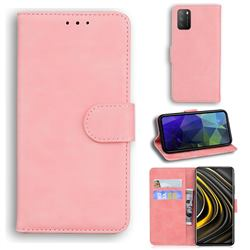 Retro Classic Skin Feel Leather Wallet Phone Case for Mi Xiaomi Poco M3 - Pink