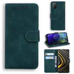 Retro Classic Skin Feel Leather Wallet Phone Case for Mi Xiaomi Poco M3 - Green