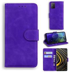 Retro Classic Skin Feel Leather Wallet Phone Case for Mi Xiaomi Poco M3 - Purple