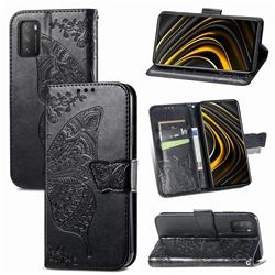 Embossing Mandala Flower Butterfly Leather Wallet Case for Mi Xiaomi Poco M3 - Black