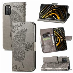 Embossing Mandala Flower Butterfly Leather Wallet Case for Mi Xiaomi Poco M3 - Gray