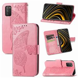 Embossing Mandala Flower Butterfly Leather Wallet Case for Mi Xiaomi Poco M3 - Pink