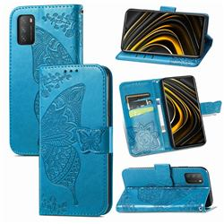 Embossing Mandala Flower Butterfly Leather Wallet Case for Mi Xiaomi Poco M3 - Blue