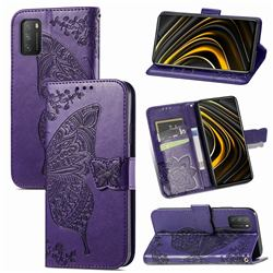 Embossing Mandala Flower Butterfly Leather Wallet Case for Mi Xiaomi Poco M3 - Dark Purple