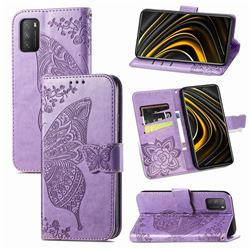 Embossing Mandala Flower Butterfly Leather Wallet Case for Mi Xiaomi Poco M3 - Light Purple