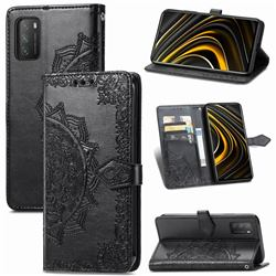 Embossing Imprint Mandala Flower Leather Wallet Case for Mi Xiaomi Poco M3 - Black