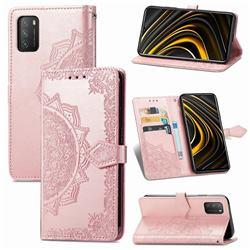 Embossing Imprint Mandala Flower Leather Wallet Case for Mi Xiaomi Poco M3 - Rose Gold