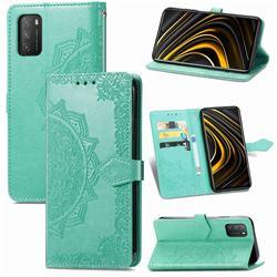 Embossing Imprint Mandala Flower Leather Wallet Case for Mi Xiaomi Poco M3 - Green